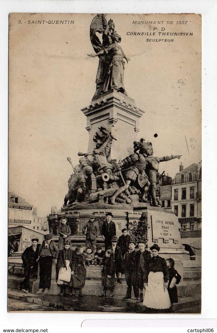- CPA SAINT-QUENTIN (02) - Monument De 1557 (belle Animation) - Edition P. D. N° 3 - - Saint Quentin