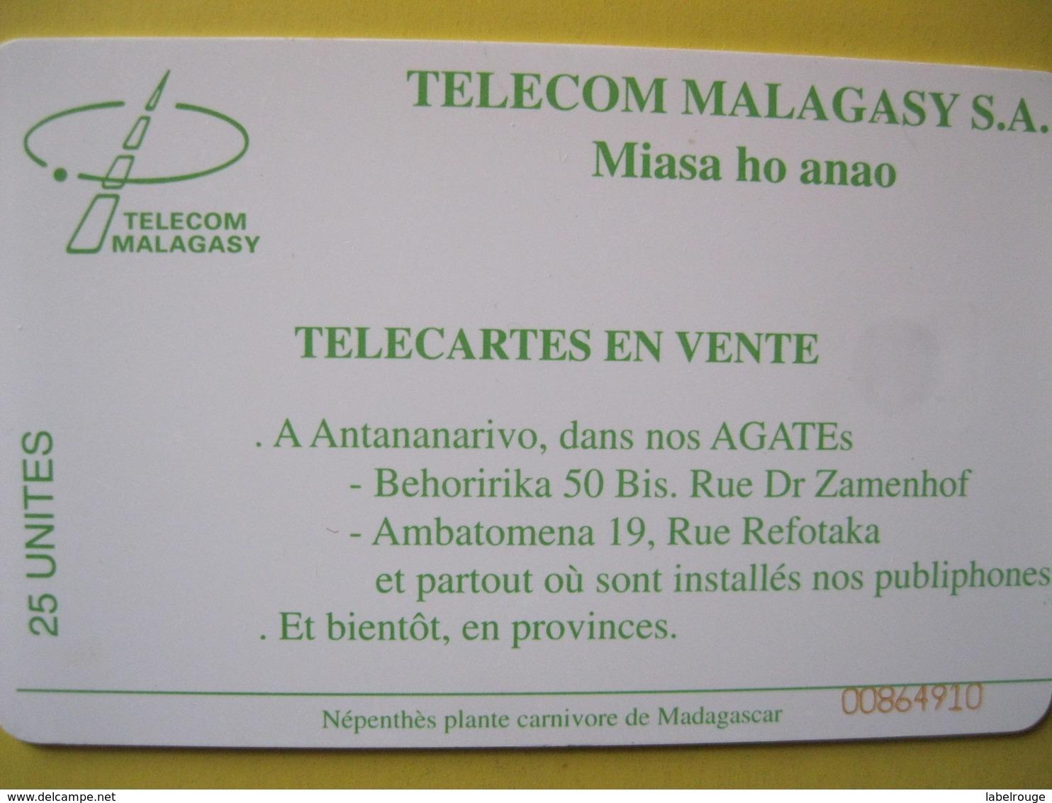Télécarte De Madagascar - Madagaskar