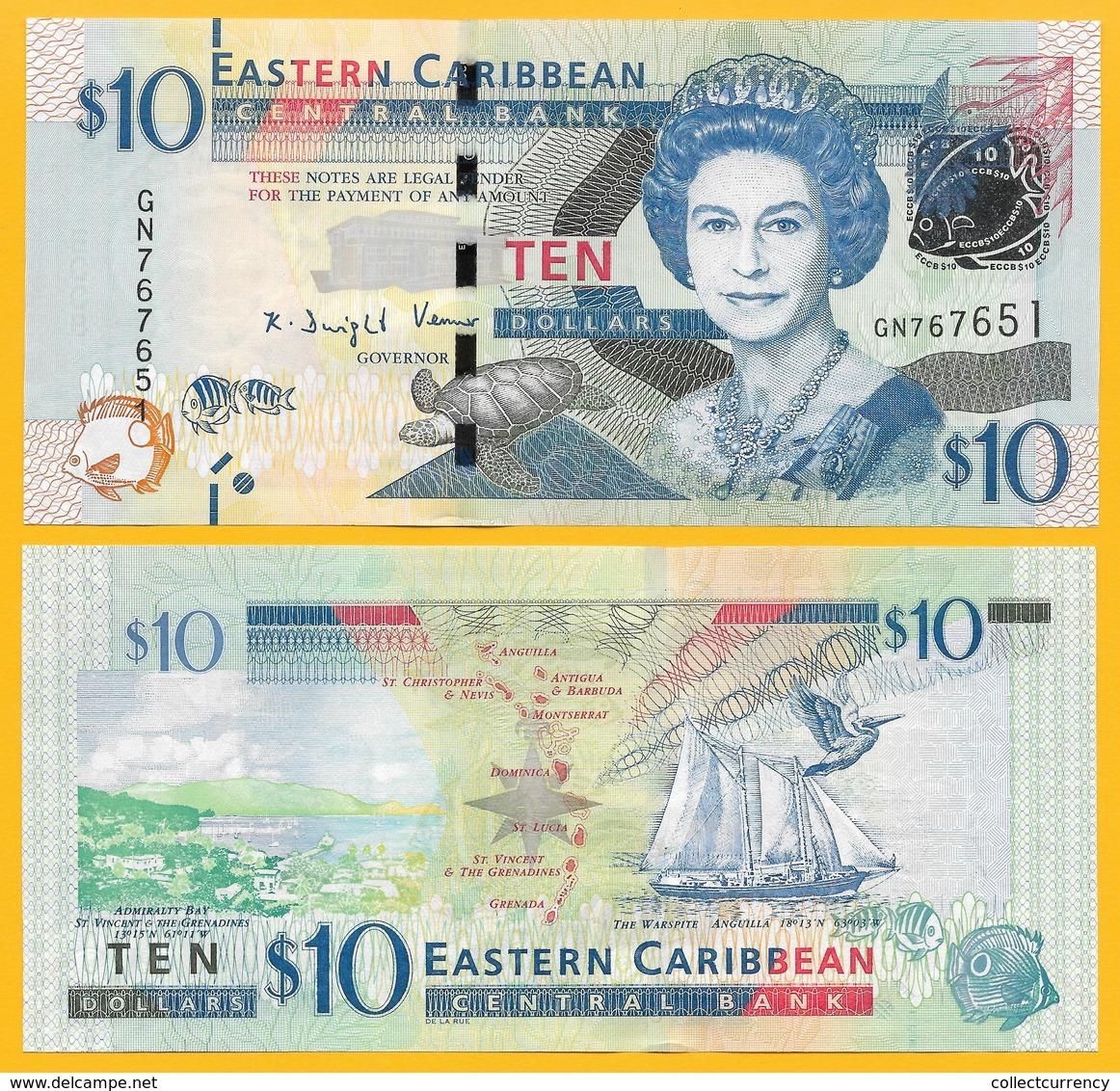 East Caribbean States 10 Dollars P-52b 2016 UNC Banknote - Caraïbes Orientales