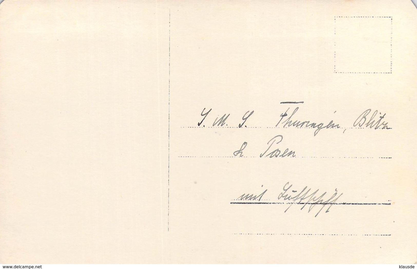 """S.M.S. """" Thüringen """" Mit Luftschiff In Posen - Krieg"""