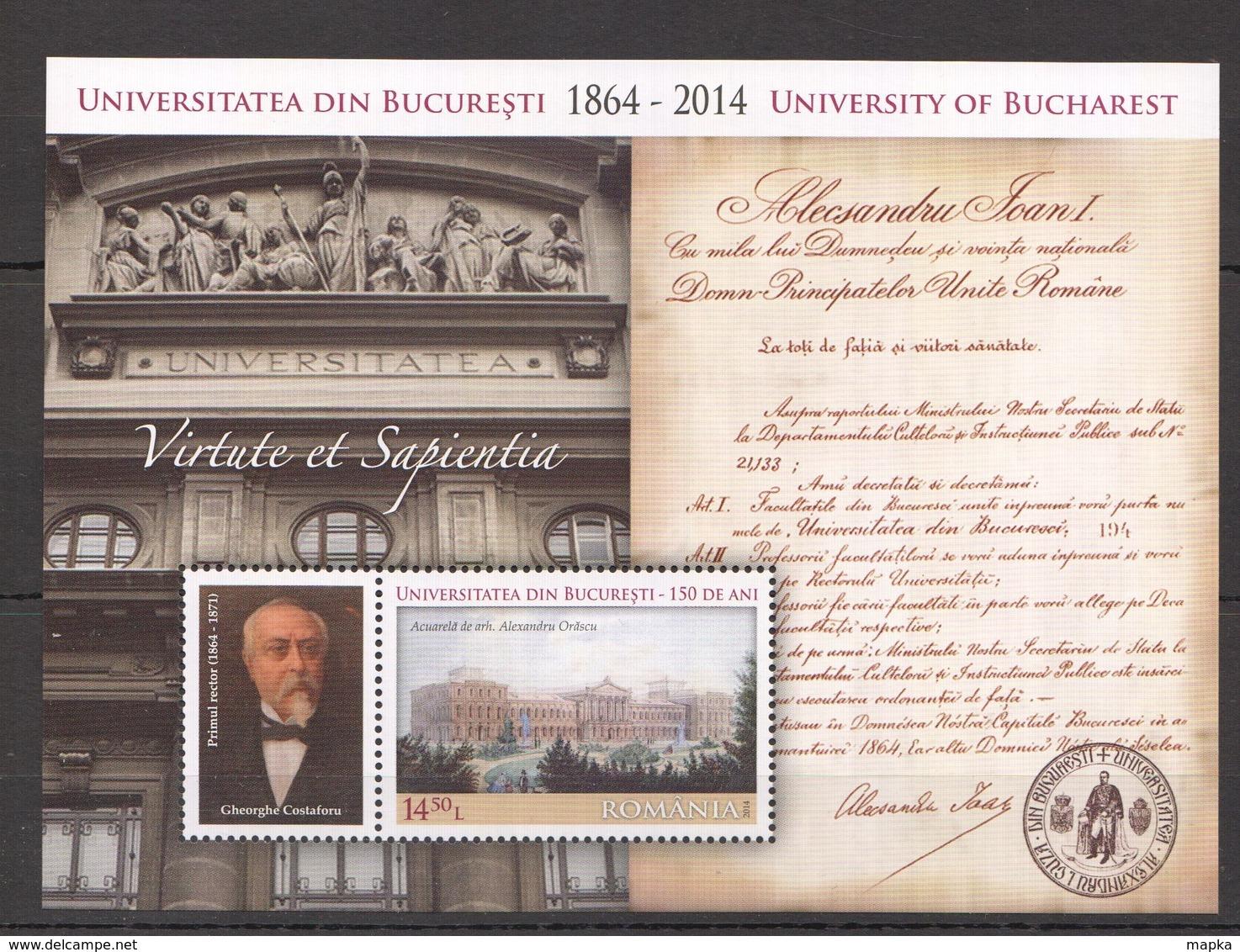 L239 2014 ROMANIA ARCHITECTURE UNIVERSITY OF BUCHAREST 1BL MNH - Architecture
