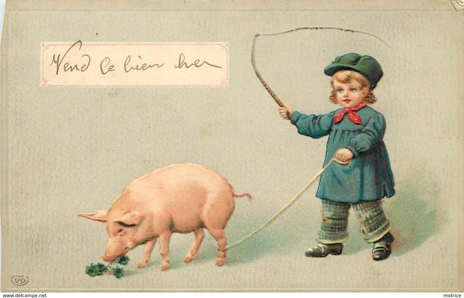 ENFANT ET COCHON (carte Gaufrée) - Cochons