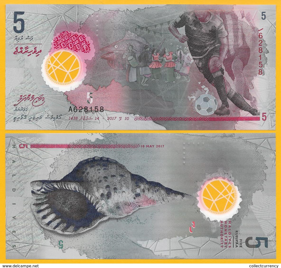 Maldives 5 RufiyaaP-new 2017 (Prefix A) UNC Polymer Banknote - Maldives