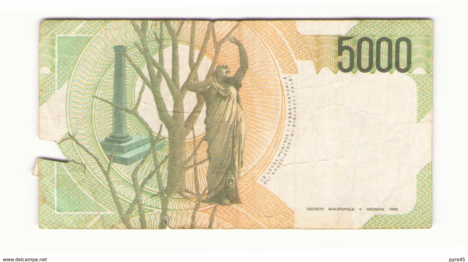 Italie 1985 Billet De 5000 Lires ( Déchirure ) - [ 2] 1946-… : Repubblica