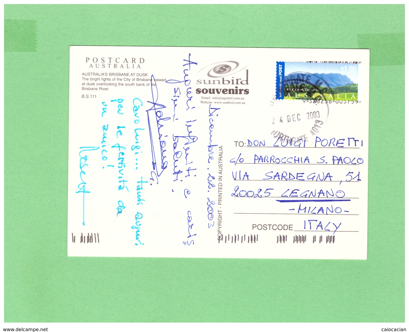 2003 AUSTRALIA BRISBANE AIR MAIL POSTCARD WITH 1 STAMP TO ITALY - 2000-09 Elizabeth II