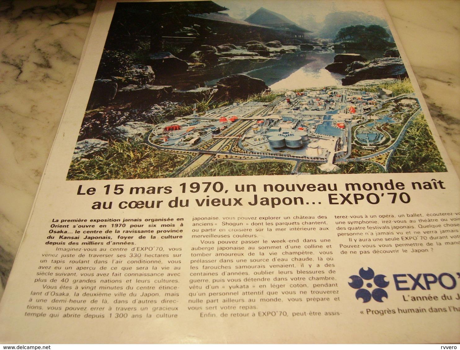ANCIENNE PUBLICITE UN NOUVEAU MONDE NAIT JAPON EXPO  1970 - Publicité