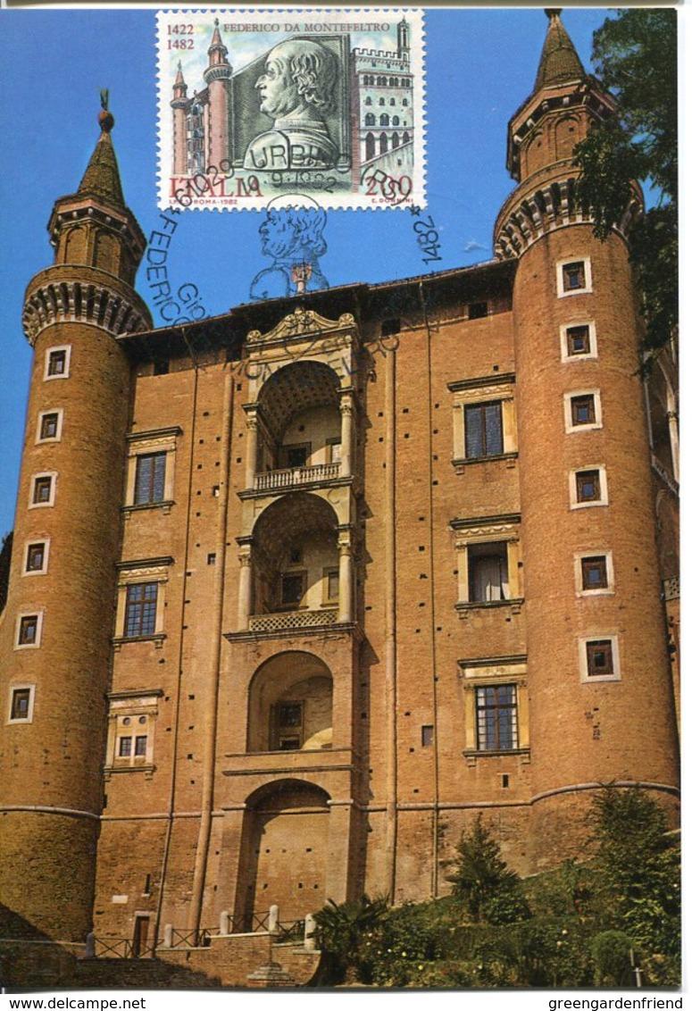 43741  Italia,  Maximum 1982,  Urbino The Palazzo Ducale Of  Urbino, Architecture - Châteaux