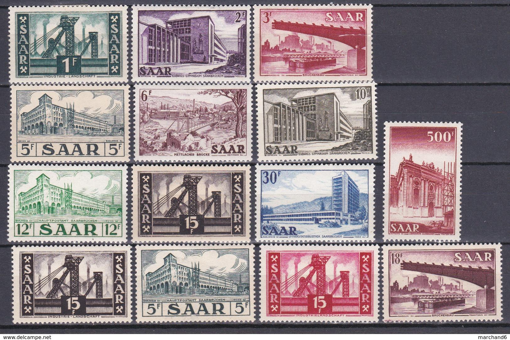Sarre 1952-53 Série  N°306 à 315-322-328-337-338 Neuf* Charnière - 1947-56 Occupation Alliée