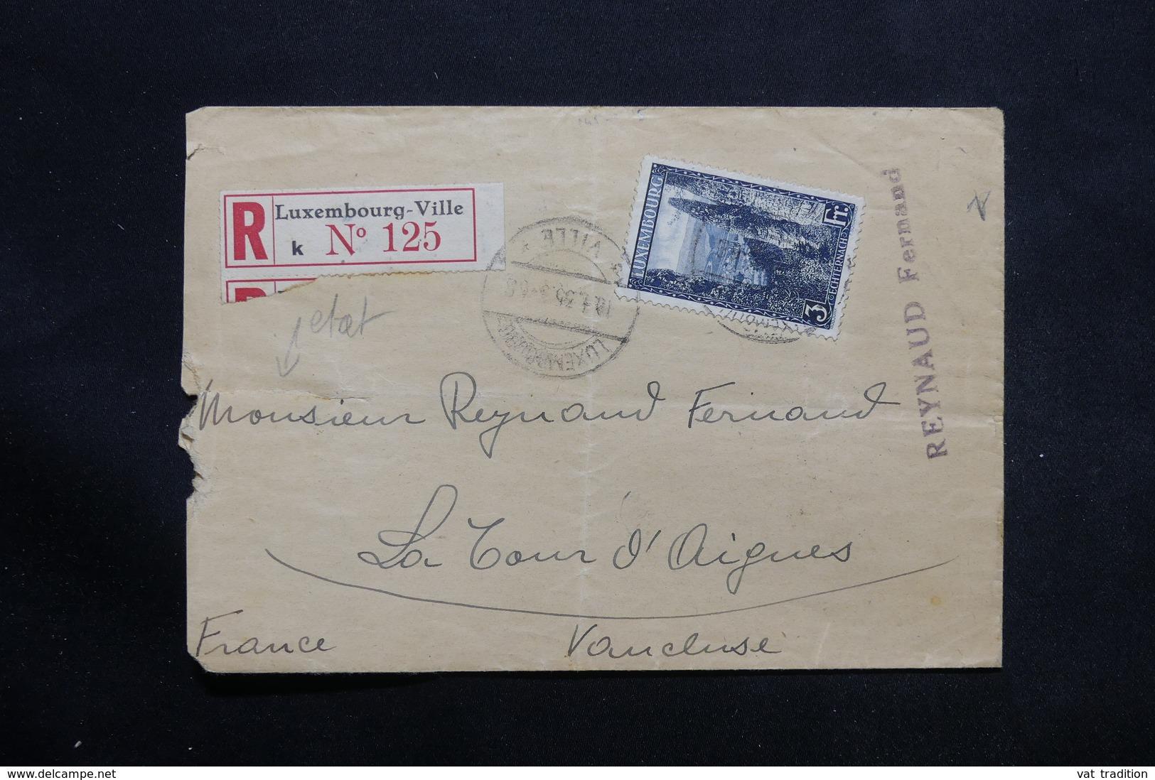 LUXEMBOURG - Enveloppe En Recommandé Pour La France En 1935 , Affranchissement Plaisant - L 25331 - Luxembourg