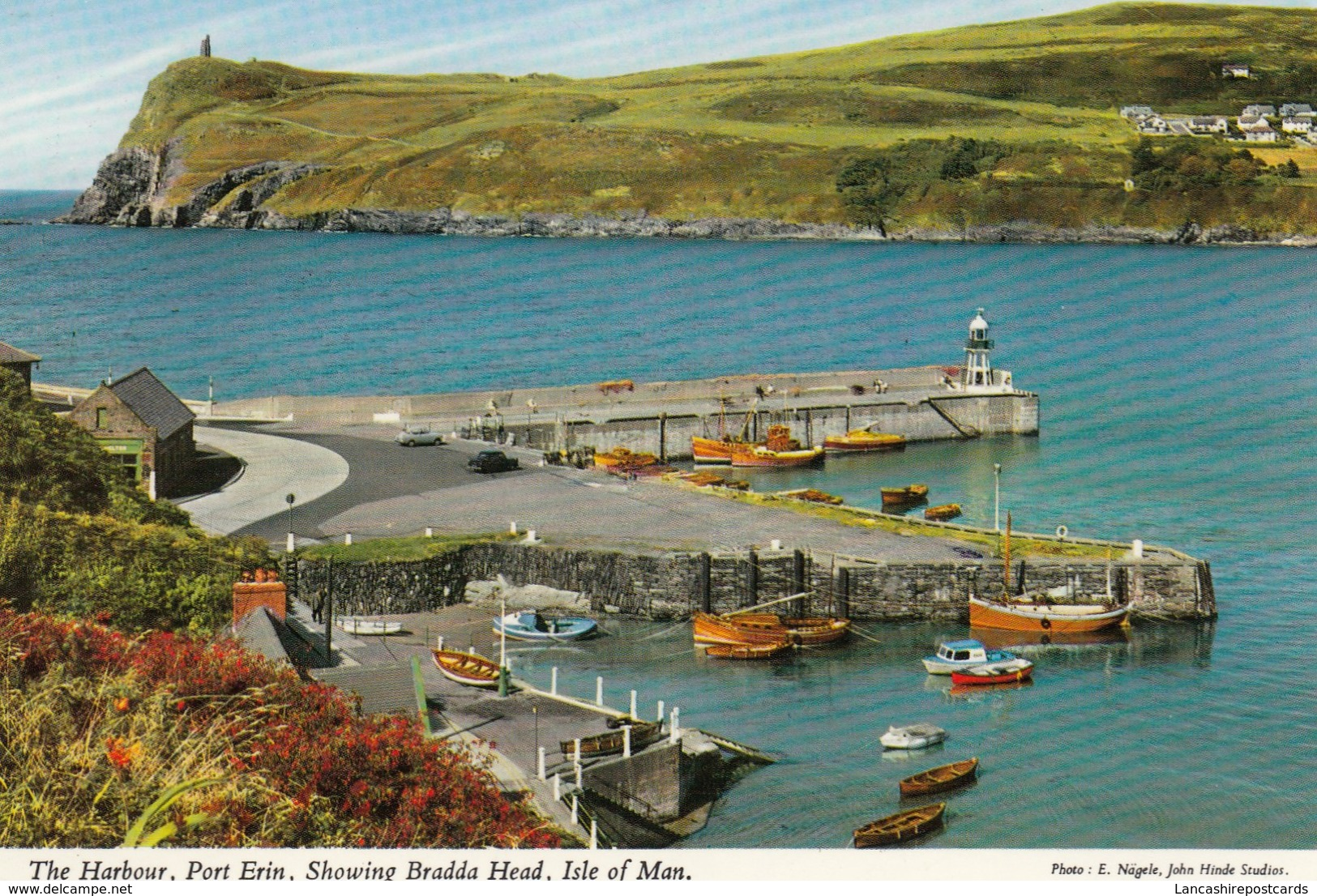 Postcard The Harbour Showing Bradda Head Isle Of Man PU 1972 To Barnoldswick [ John Hinde ] My Ref  B12937 - Isle Of Man