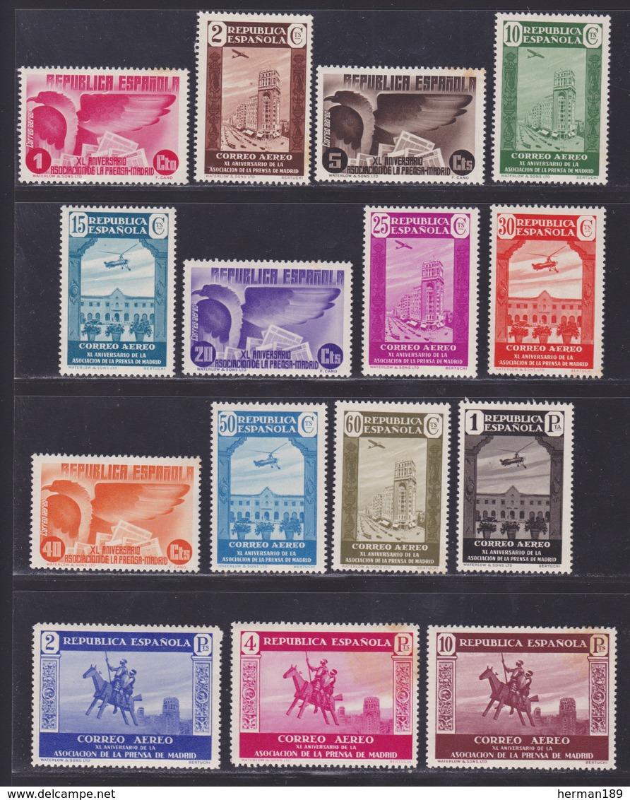 ESPAGNE AERIENS N°   96 à 110 ** MNH Neufs Sans Charnière, Fortes Rousseurs (L1237) Association De La Presse - 1936 - Ungebraucht