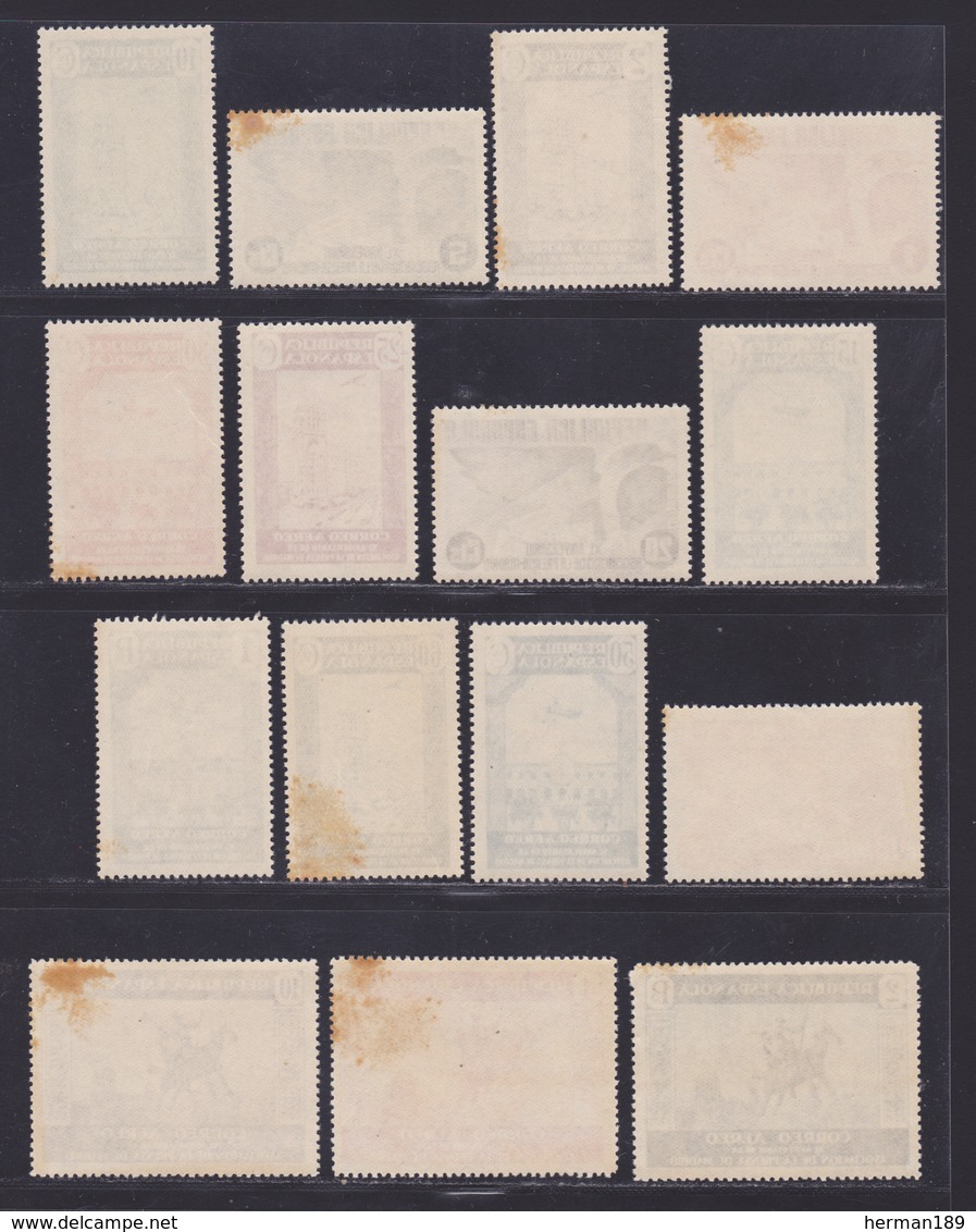 ESPAGNE AERIENS N°   96 à 110 ** MNH Neufs Sans Charnière, Fortes Rousseurs (L1237) Association De La Presse - 1936 - Nuevos & Fijasellos