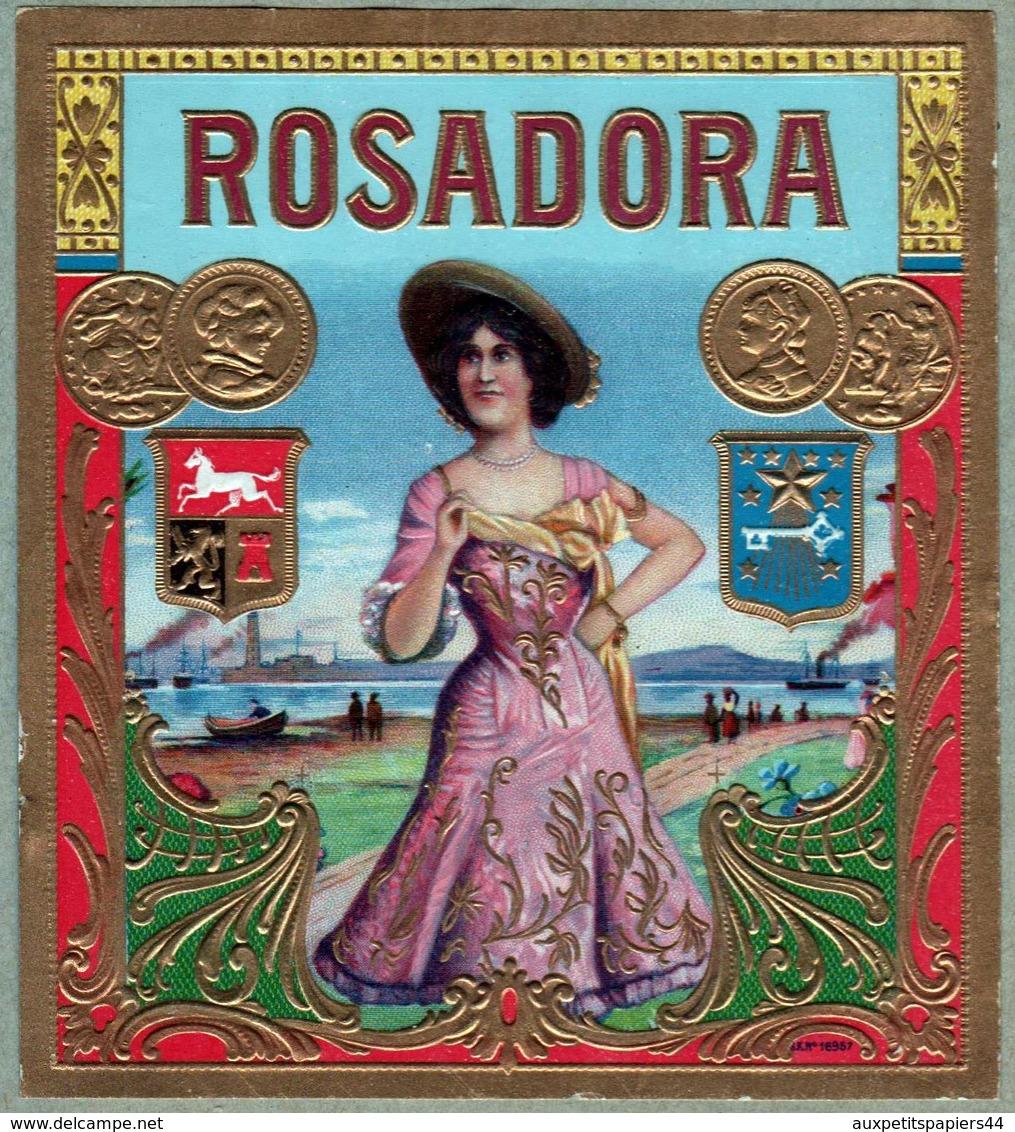 Collection 45 Anciennes étiquettes Dorées Gaufrées De Cigares Rosadora, Flor, Vigtoire, Esquisitos, Factoria, Diplomatic - Documents