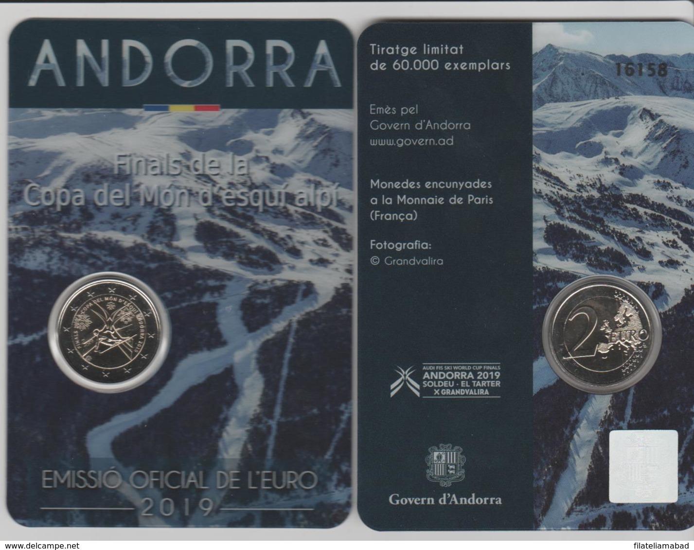 ANDORRA EMISIÓN EURO 2019 3 MONEDES DE 2,00€ COMMEMORATIUS FINALS DE LA COPA DEL MONT D'ESQUI ALPI. - Andorra