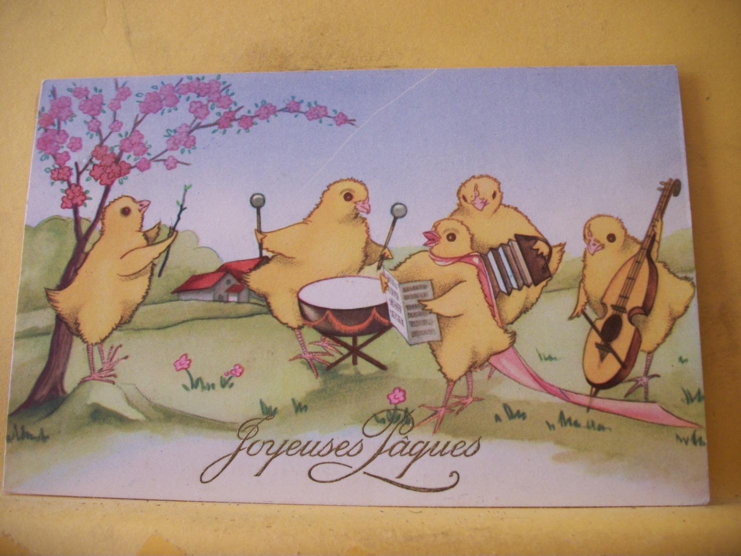 B20 9655 CPSM PM 1954 - JOYEUSES PAQUES EN LETTRES DOREES - 5 POUSSINS JAUNES FORMANT UNE HARMONIE MUSICALE. - Pâques