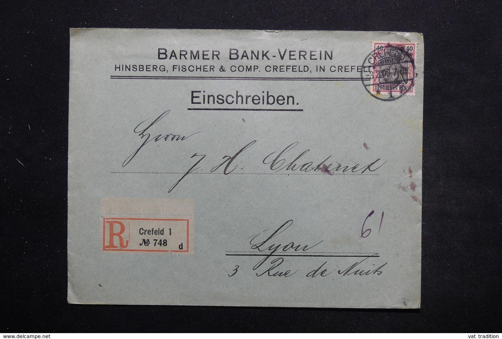 ALLEMAGNE - Enveloppe Commerciale En Recommandé De Crefeld Pour La France En 1909, Affranchissement Plaisant - L 25447 - Deutschland