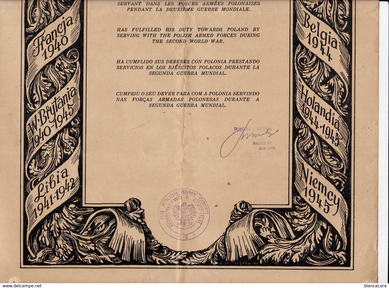 Guerre 40/45 Armée  Polskie Polski Pologne Poland Polonia - Old Paper