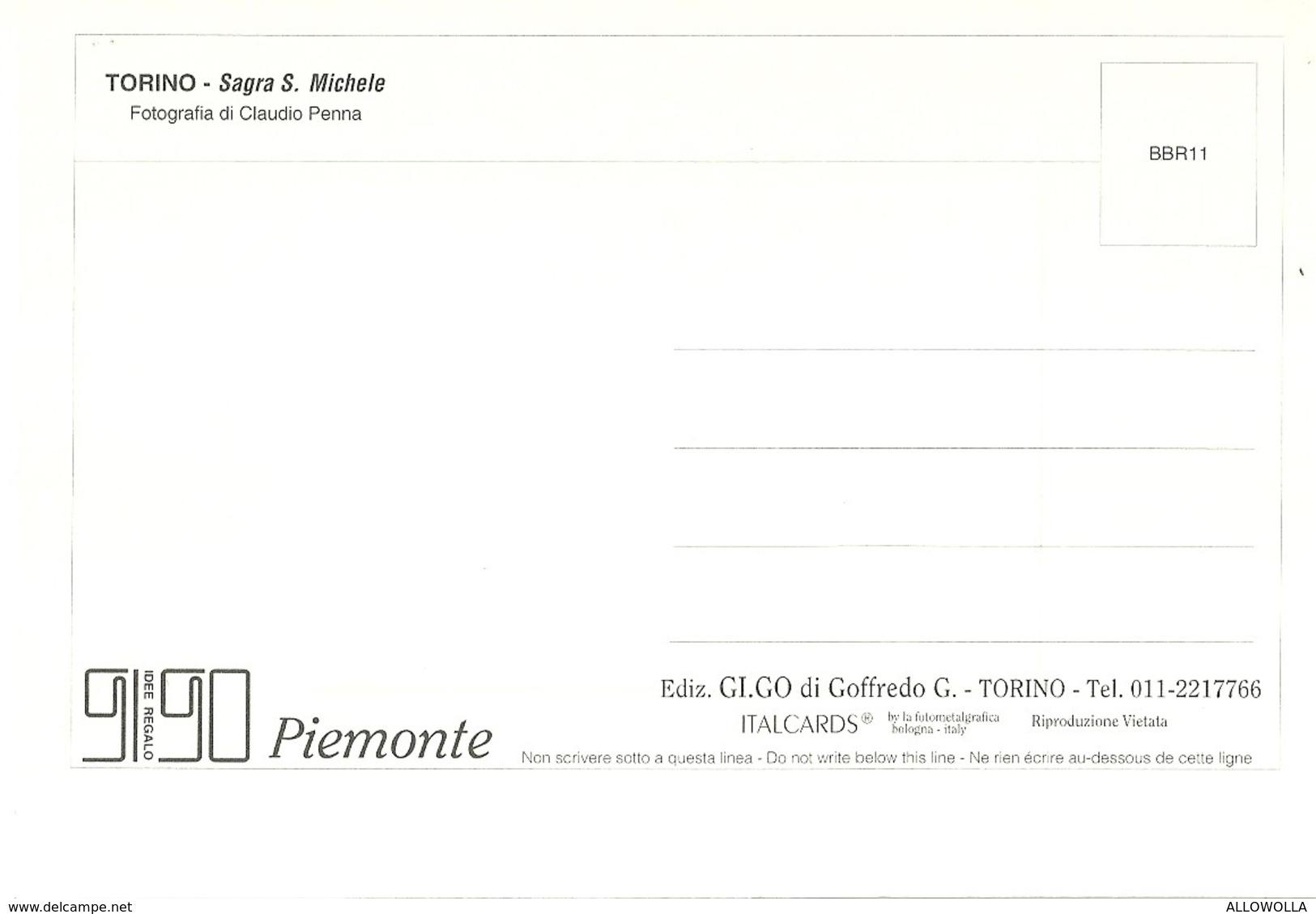 """3011 """" PIEMONTE - TORINO - LA SAGRA S. MICHELE - FOTO DI CLAUDIO PENNA """" CART. POS.OR. NON SPED. - Churches"""