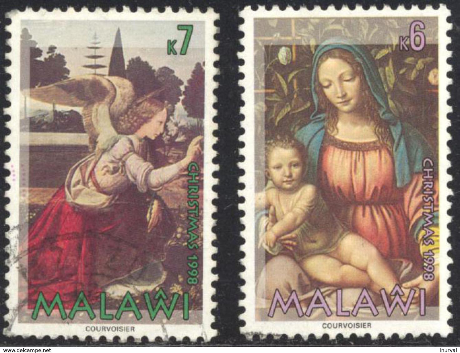 1998 Malawi Christmas Michel #695-96. Used Leonardo Da Vinci And Bernardino Luini - Malawi (1964-...)