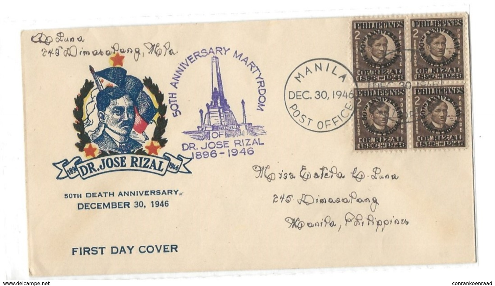 2c Rizal Overprinted Philippines 50th Anniversary Martyrdom Of Rizal 1896-1946   Manila Postoffice 30/12/1946 - Philippines