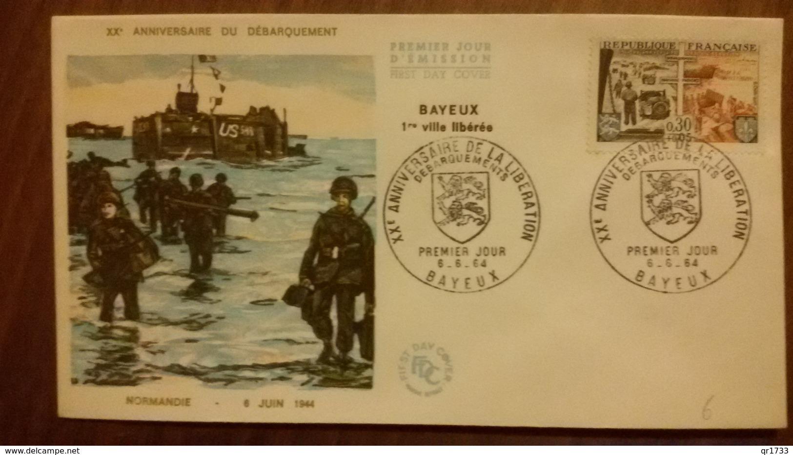 Premier Jour  FDC..   XX ANNIVERSAIRE  Du DEBARQUEMENT  1964 - Other