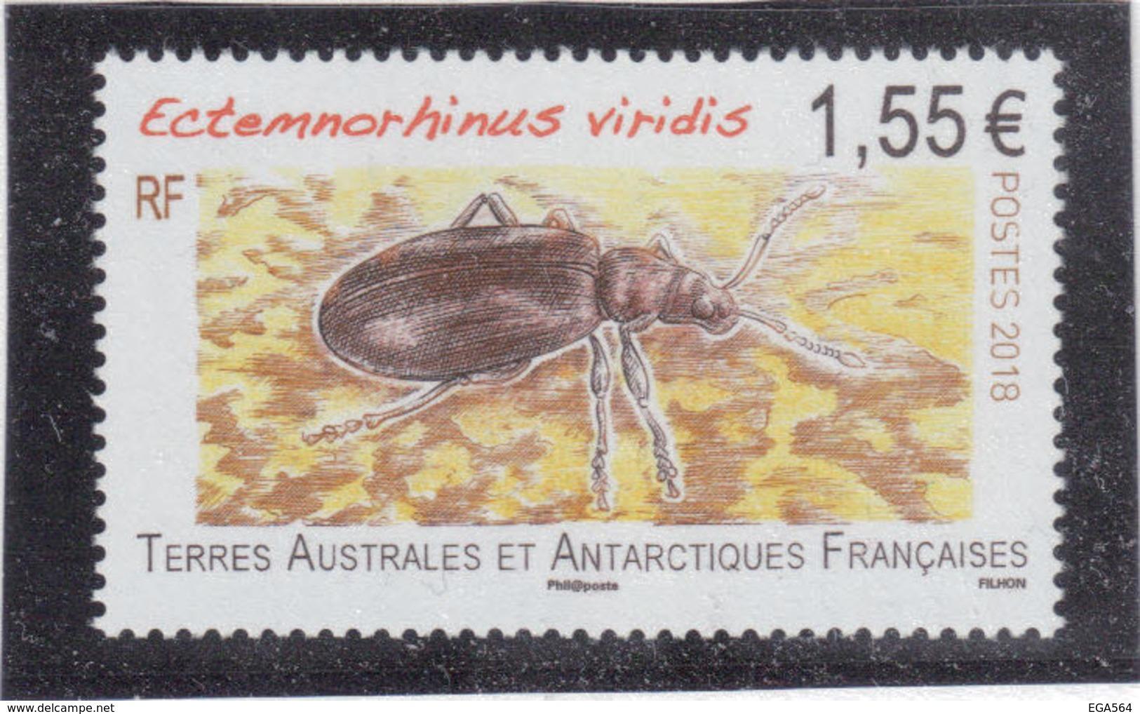 B2 - TAAF 856 ** MNH De 2018 - FAUNE - Insecte - Coléoptère - ECTEMNORHINUS VIRIDIS - - Terres Australes Et Antarctiques Françaises (TAAF)