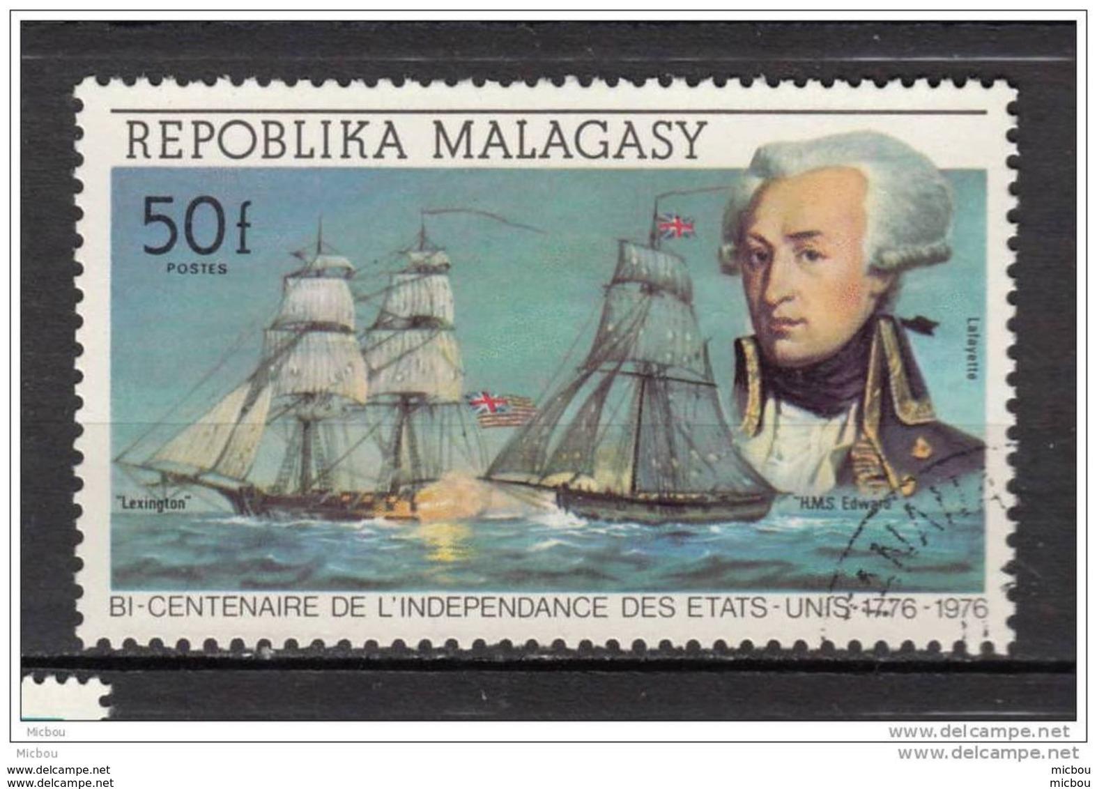 Madagascar, Malagasy, Indépendance Des USA, Perruque, Lafayette, Histoire, History, Bateau, Boat, Perruque, Wig - Onafhankelijkheid USA