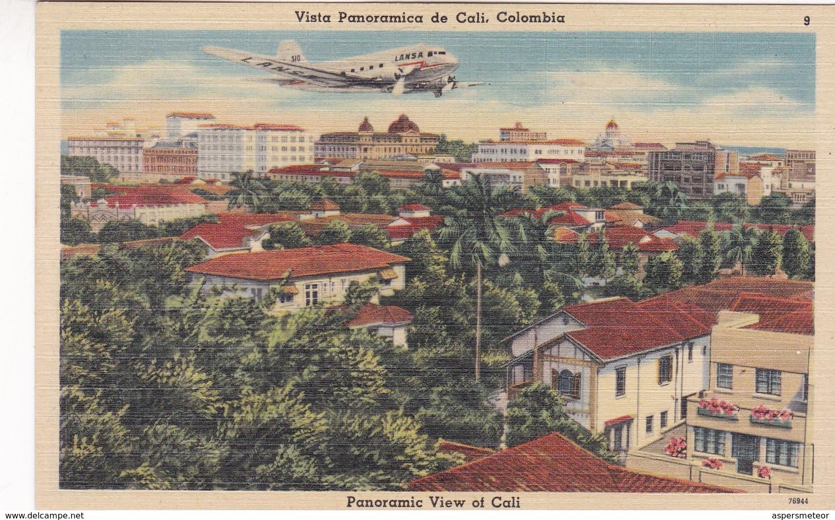 VISTA PANORAMICA DE CALI, COLOMBIA. LANSA LTD AIRPLANE. TICHNOR QUALITY VIEWS. CIRCA 1950s - BLEUP - Colombie