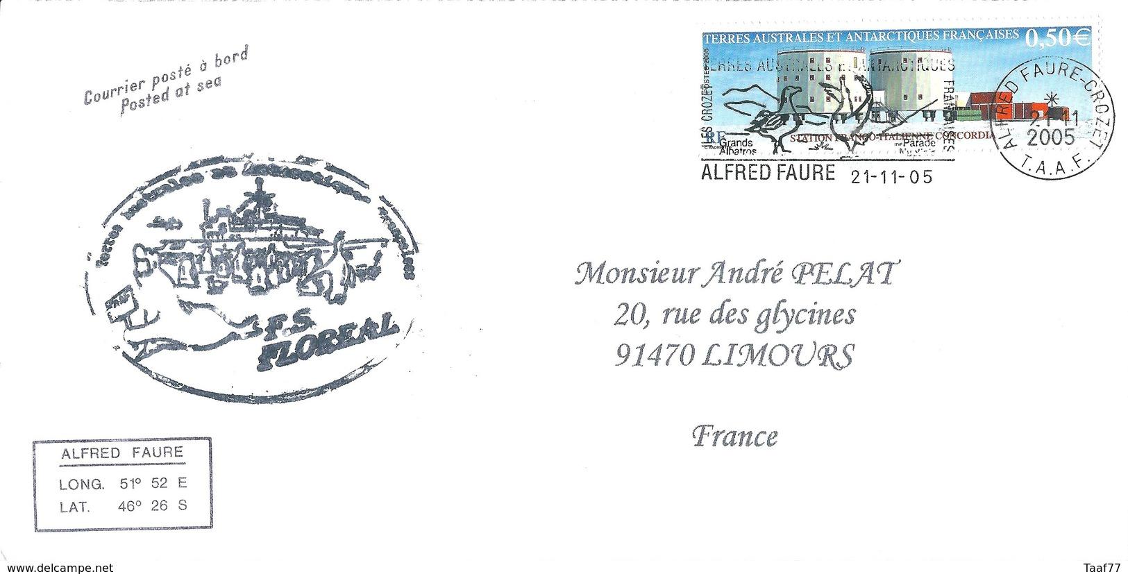 TAAF - Alfred Faure - Crozet : Lettre Avec Timbre N°415 Station Concordia - OMEC SECAP Du 21/11/2005 - Lettres & Documents