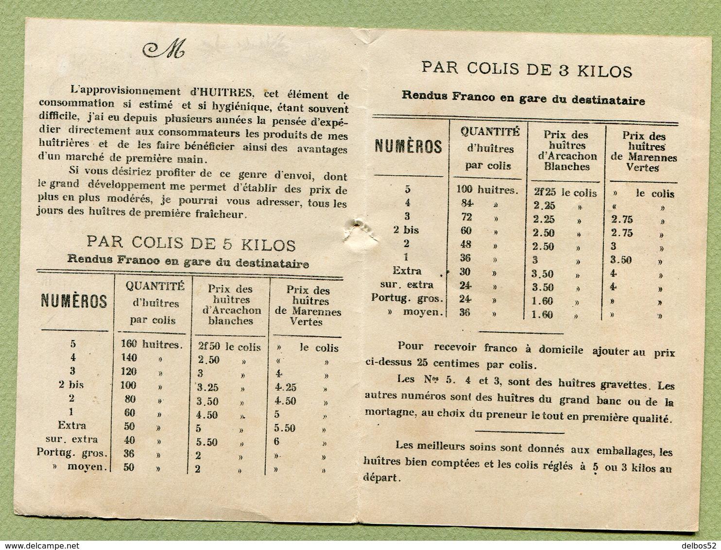"""ARCACHON  : """" HUÎTRES DE LA REOUSSE - Paul DUBERN """"  Petit Dépliant Du XIXème - France"""