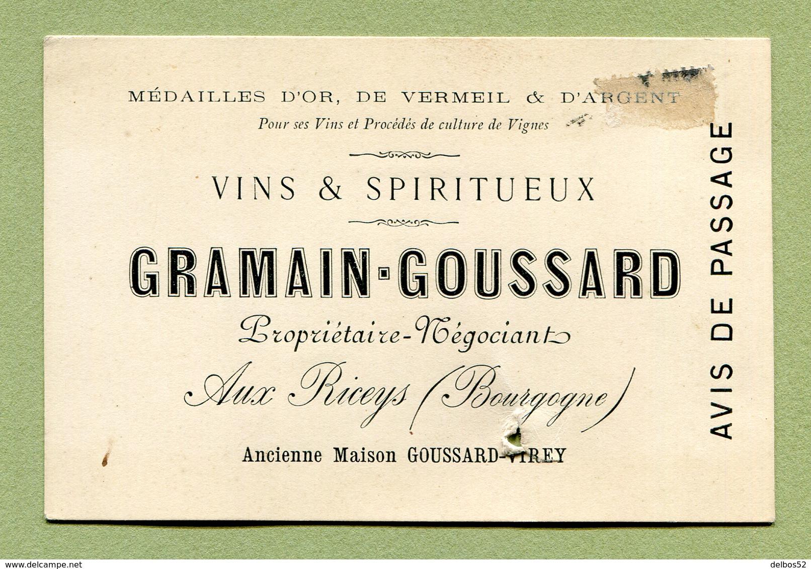"""LES RICEYS  (10) : """" VINS & SPIRITUEUX - GRAMAIN-GOUSSARD """"  Carte Du XIXème - 1800 – 1899"""