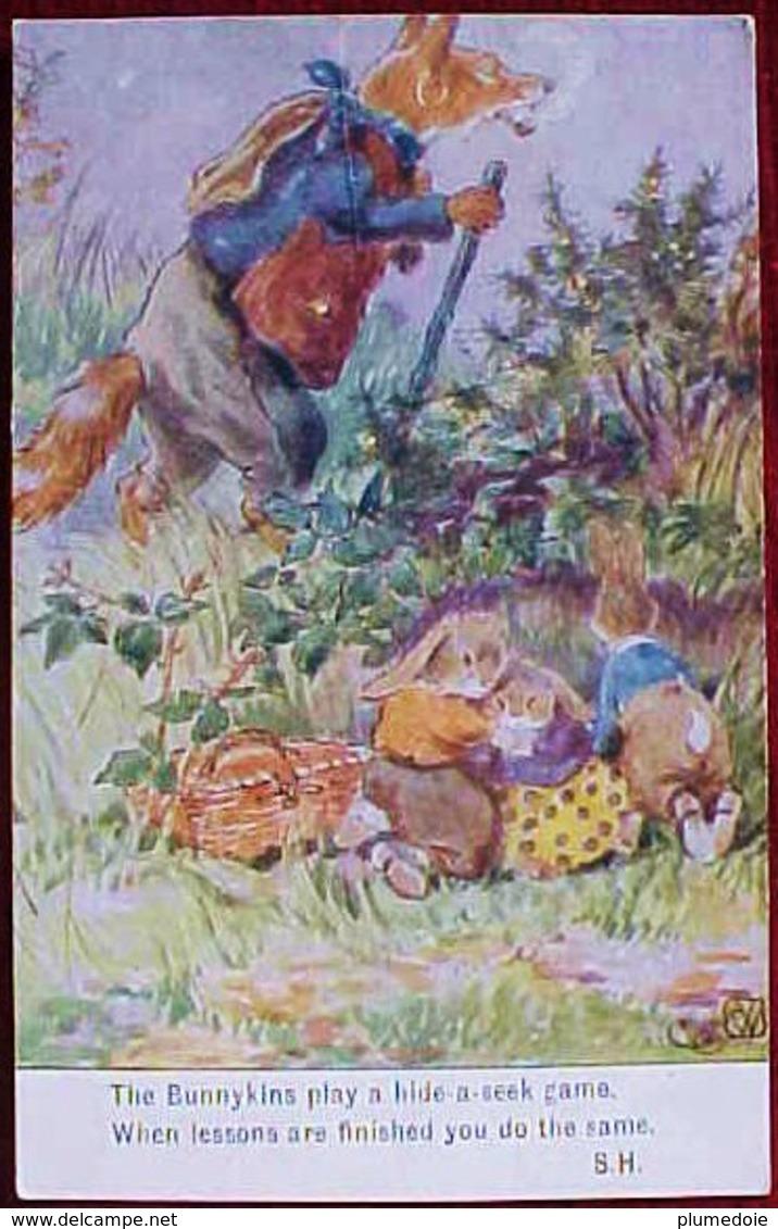 Cpa Illustrateur  C.W ,  RENARD VAGABOND & PETITS LAPINS EFFRAYES , Dressed FOX & RABBITS A/s , - Animaux Habillés