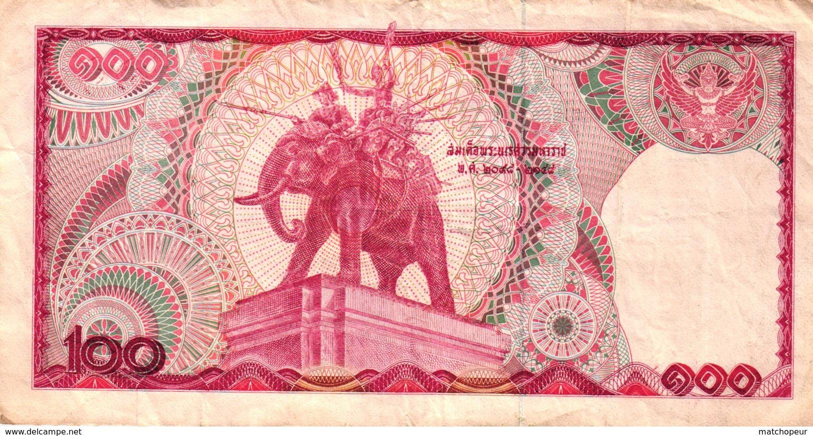BILLET DE 100 BHATS THAILANDE - Thaïlande
