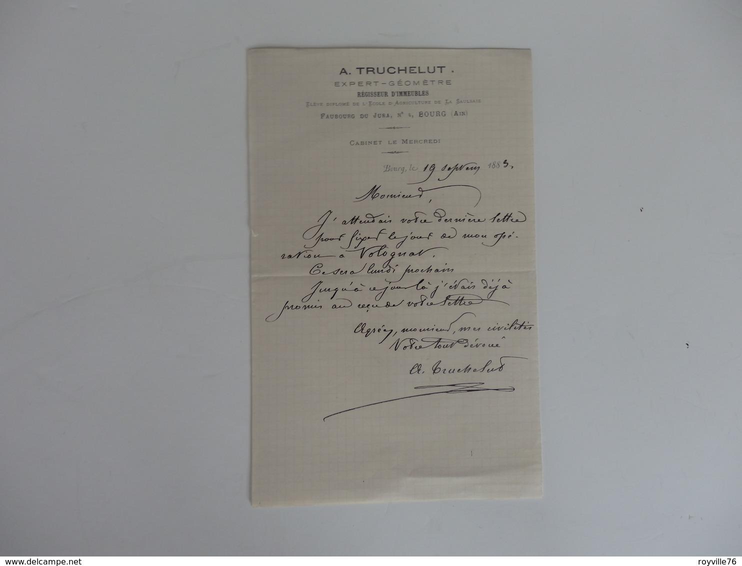 Lettre De A. Truchelut Expert-géomètre Régisseur D'immeubles Diplomé De L'école D'agriculture De La Saulsaie (01). - France