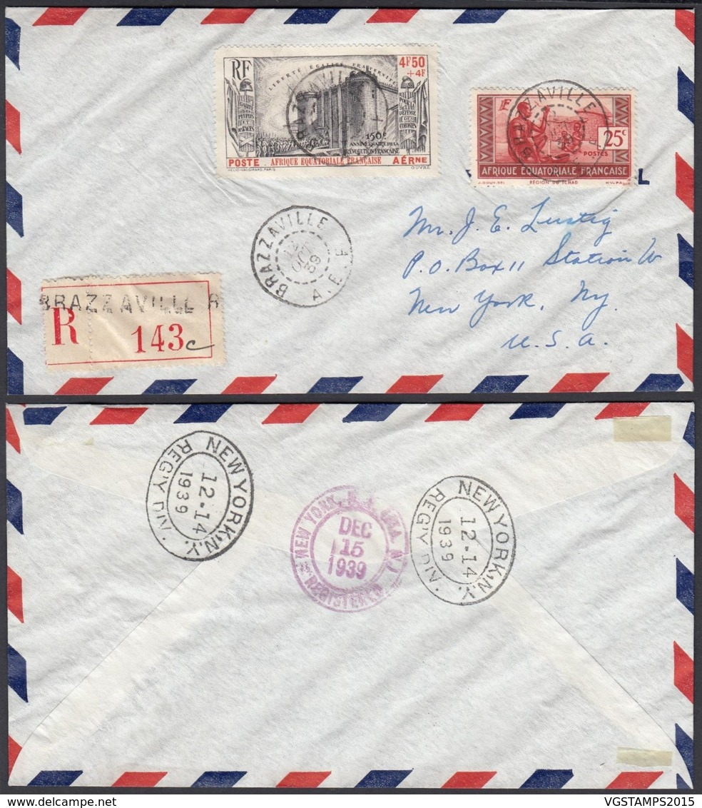 AEF - Lettre Recommandé Yv 40+PA9 De Brazzavile Vers New York, USA 12/10/1939  (7G29710)DC2519 - A.E.F. (1936-1958)