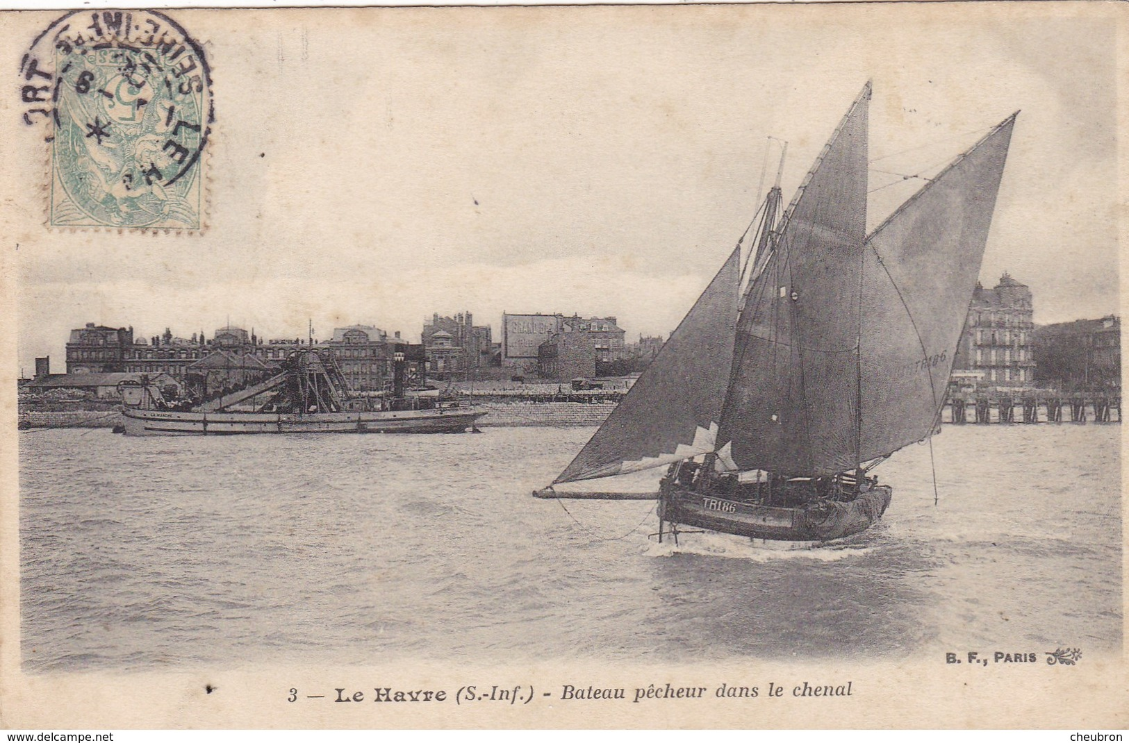 76. LE HAVRE. CPA . BATEAU DE PÊCHEUR DANS LE CHENAL. ANNÉE 1905 - Le Havre