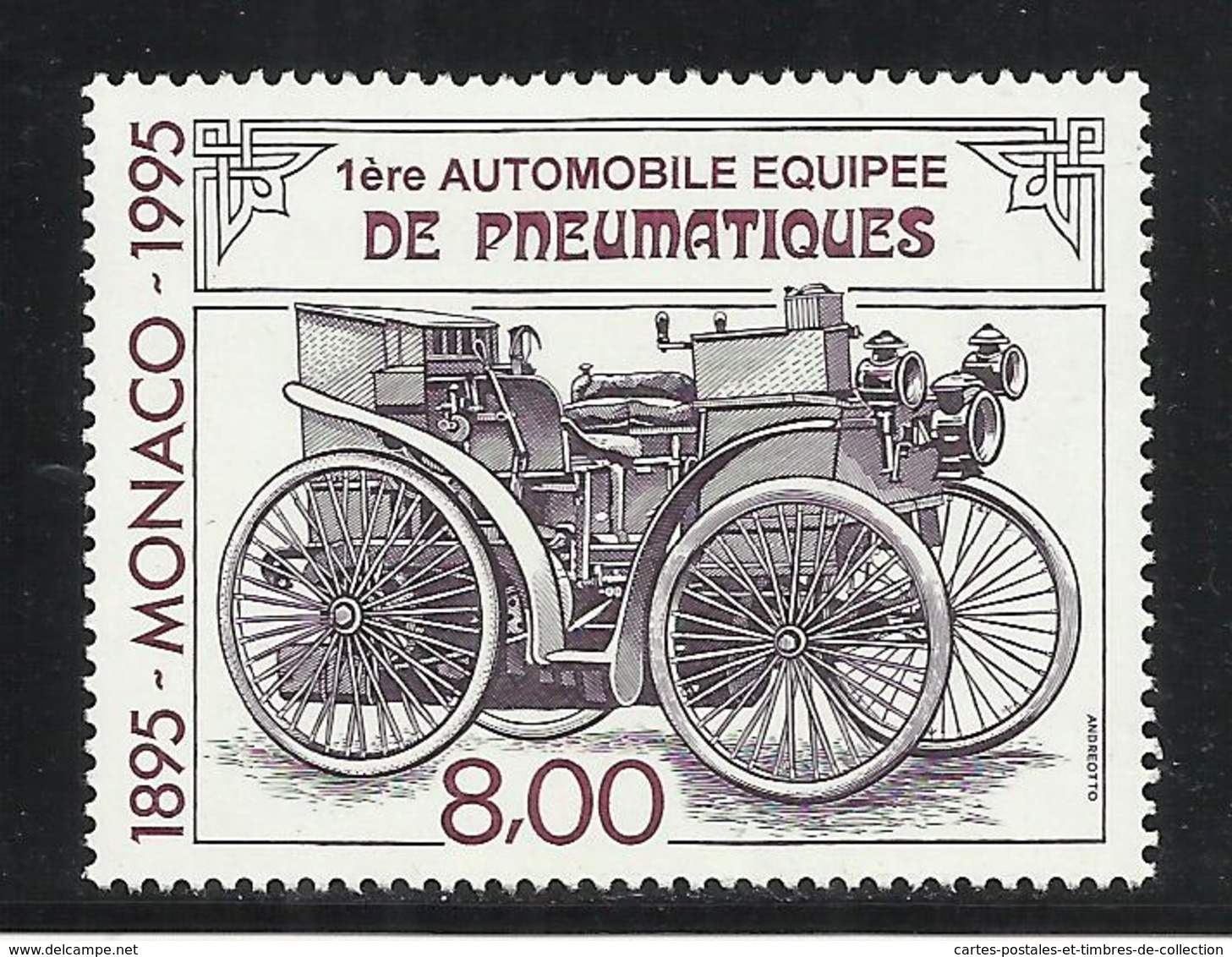 MONACO , 8 Frs , Centenaire De La 1ère Automobile équipée De Pneumatiques , 1995 , N° YT 1999 , NEUF ** - Neufs