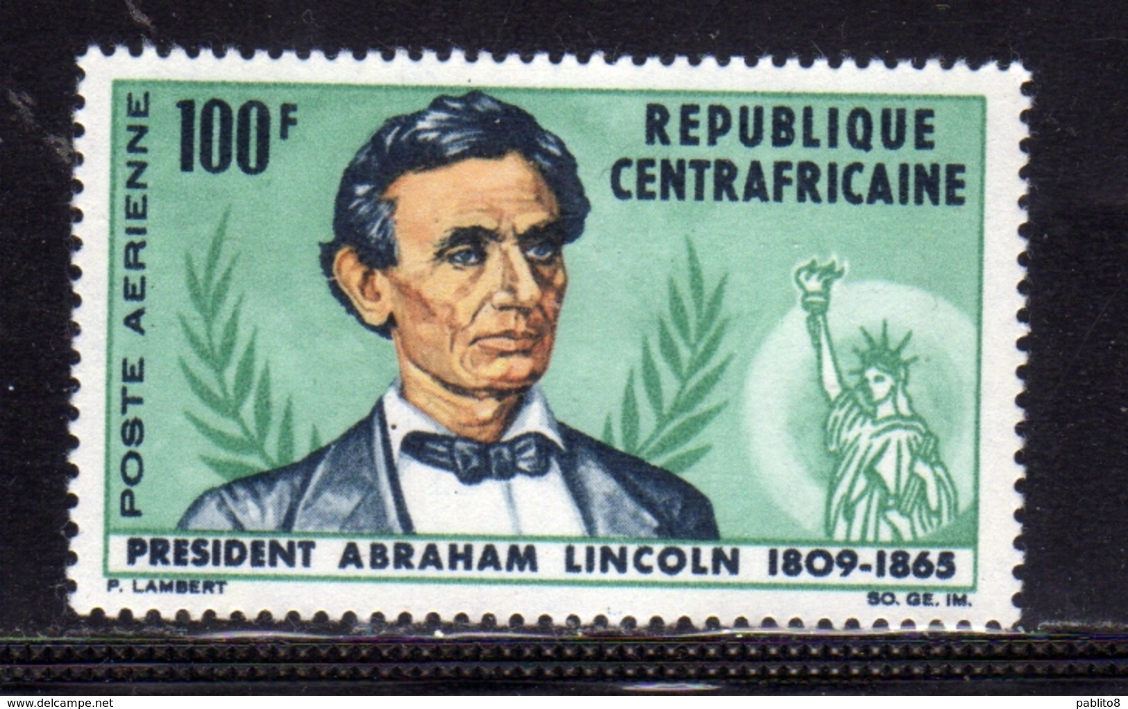 REPUBBLICA CENTRAFRICANA CENTRAFRICAINE CENTRAL AFRICAN REPUBLIC 1965 AIRMAIL ABRAHAM LINCOLN AIRENNE 100f MNH - Repubblica Centroafricana