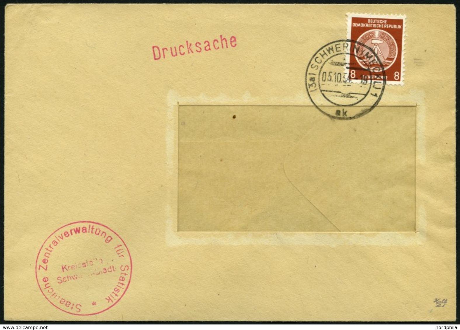 DIENSTMARKEN A D 3 BRIEF, 5.10.1954, 8 Pf. Braunorange, Einzelfrankatur Auf Drucksache Der Staatlichen Zentralversicheru - DDR