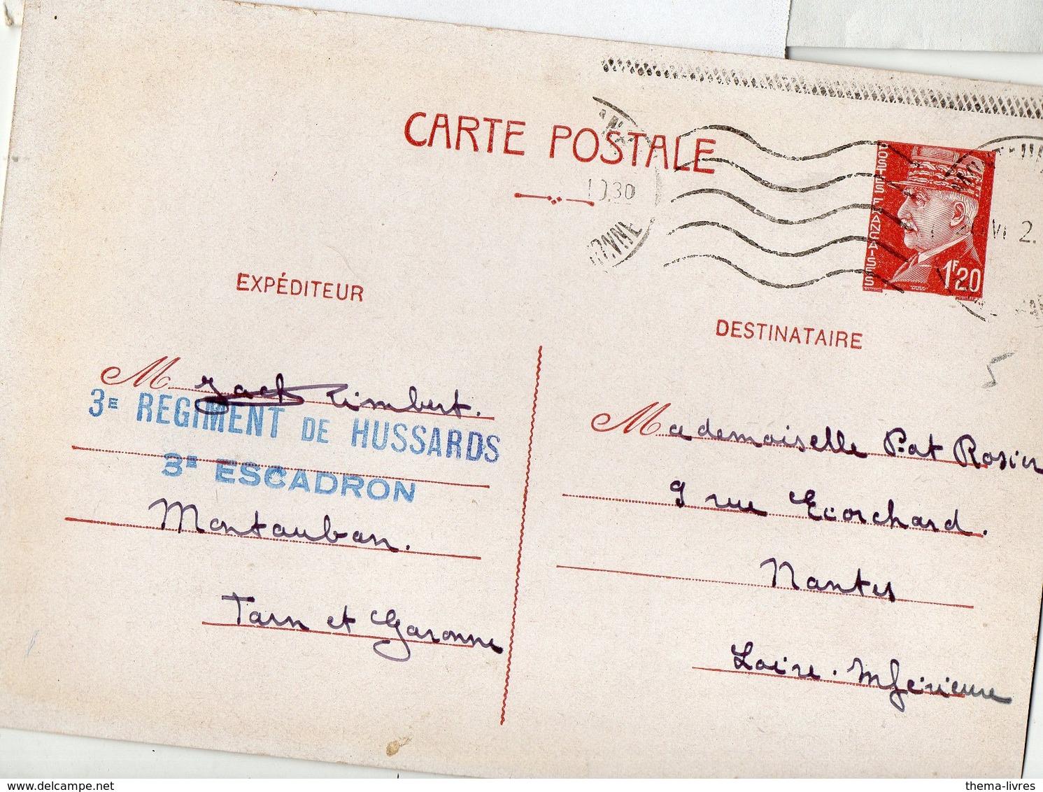 Cachet 3e REGIMENT DE HUSSARD .3E ESCADRON (Montauban)  Sur Entier Pétain 1942  (PPP17749) - Marcophilie (Lettres)