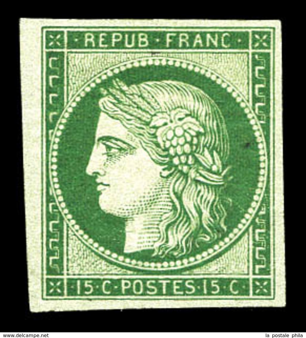 (*) N°2e, 15c Vert, Impression De 1862. TB  Qualité: (*)  Cote: 850 Euros - 1849-1850 Ceres