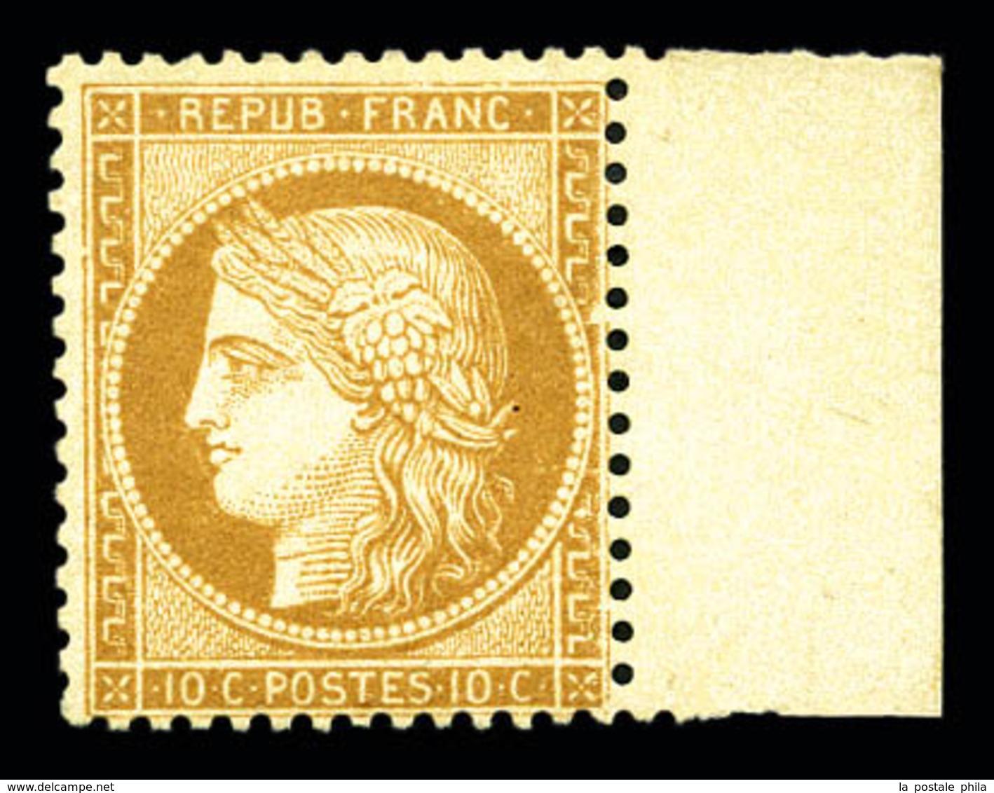 * N°36, 10c Bistre-jaune Bdf, Quasi **, TTB (signé Brun/certificat)  Qualité: *  Cote: 1000 Euros - 1870 Siege Of Paris