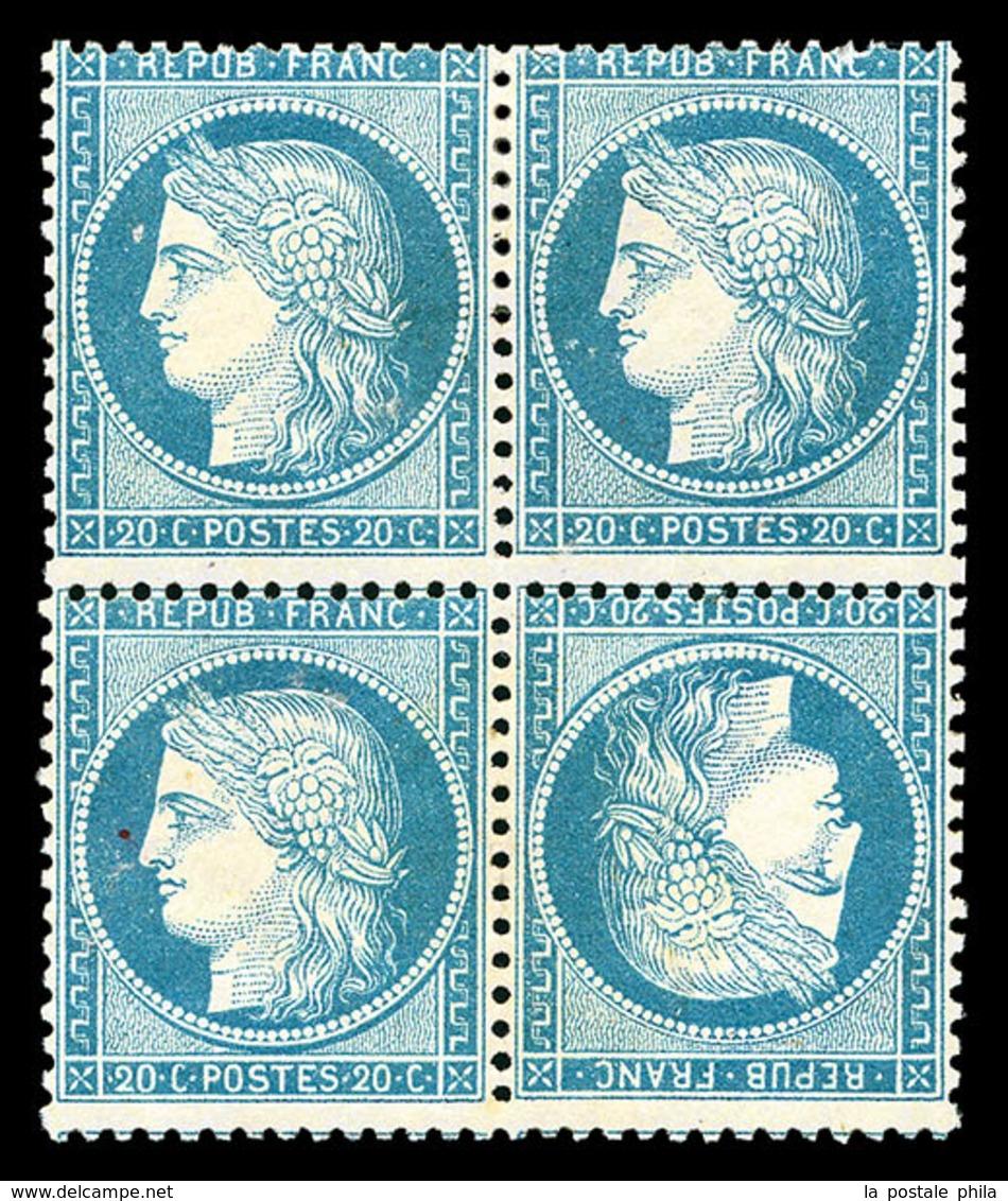 * N°37d, 20c Bleu Sur Papier Jaunâtre: Tête-bêche Tenant à Normaux Dans Un Bloc De Quatre, Jolie Pièce, RARE (signé Brun - 1870 Siege Of Paris