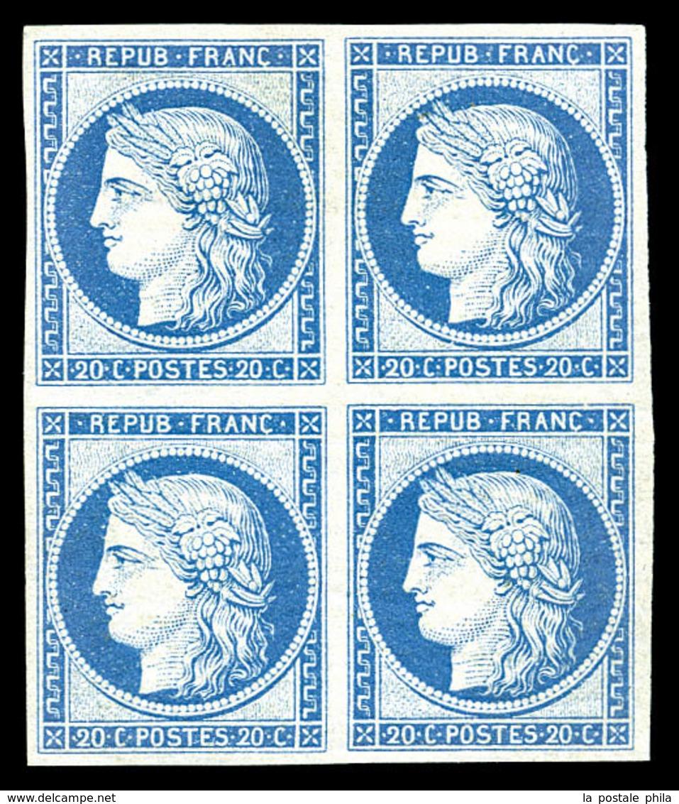 ** N°37f, 20c Bleu, Reimpression De Granet En Bloc De Quatre, Fraîcheur Postale. SUPERBE (certificat)  Qualité: ** - 1870 Siege Of Paris