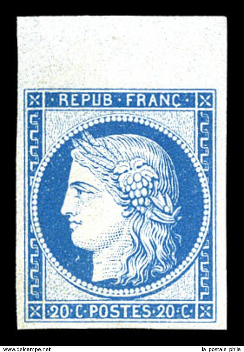 * N°37f, Granet, 20c Bleu, Bord De Feuille, Fraîcheur Postale, SUP (certificat)  Qualité: *  Cote: 500 Euros - 1870 Siege Of Paris
