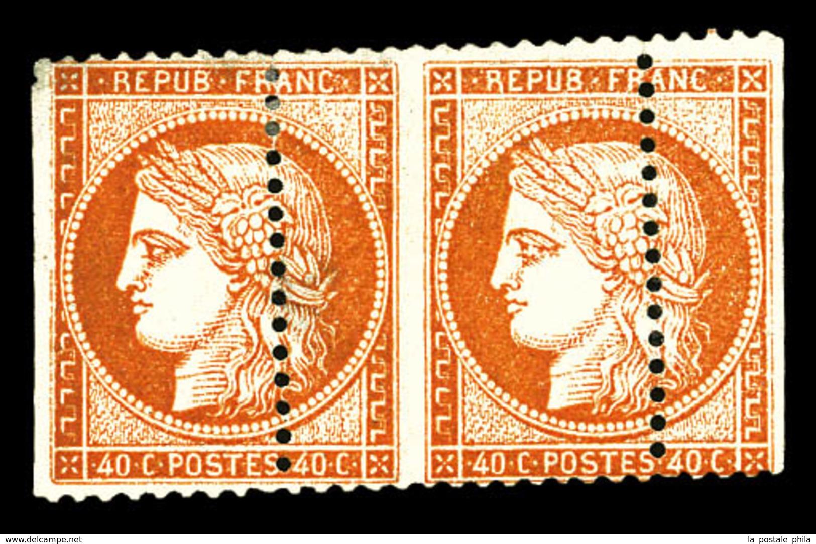 * N°38, 40c Orange, Superbe Piquage à Cheval Horizontal En Paire, Petit Pelurage Sans Importance Pour Cette Rare Variété - 1870 Siege Of Paris