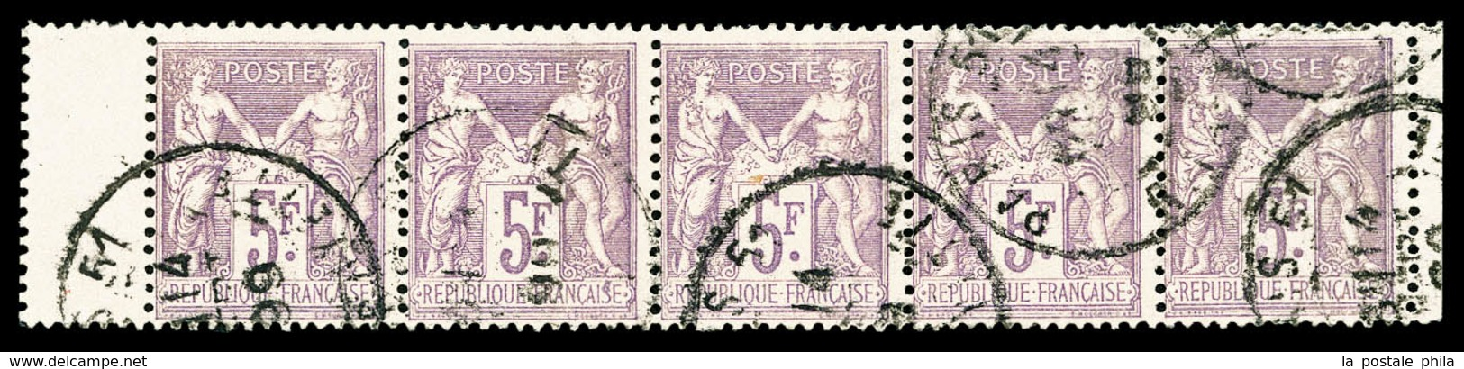 O N°95, 5F Violet Sur Lilas, Bande De 5 Bdf. SUP (certificat)  Qualité: O  Cote: 700 Euros - 1876-1878 Sage (Type I)