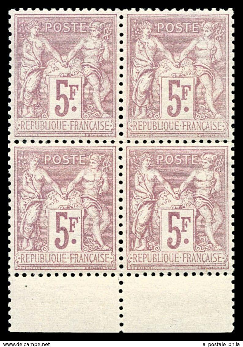** N°95a, 5F Violet Sur Lilas En Bloc De Quatre Bas De Feuille, Fraîcheur Postale, Très Bon Centrage. SUPERBE. R.R. (sig - 1876-1878 Sage (Type I)