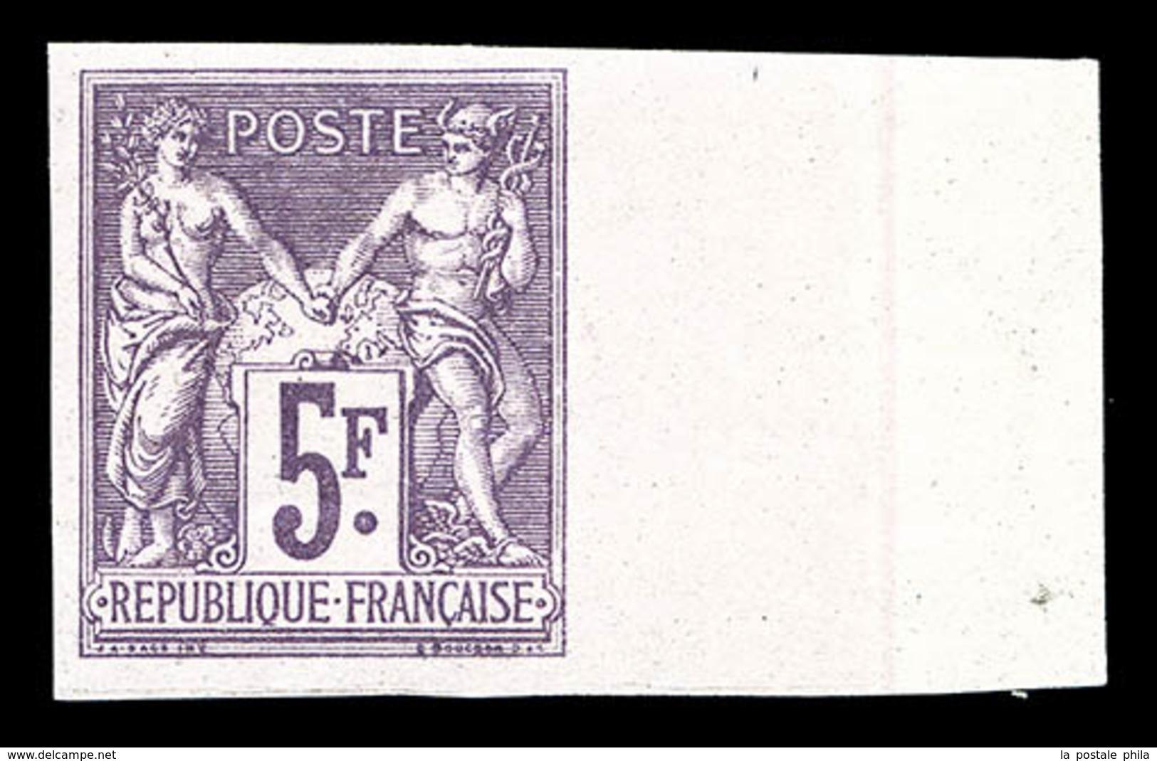 ** N°95e, 5F Violet Non Dentelé, Bord De Feuille Latéral Droit Avec Fond De Sûreté, SUP (certificat)   Qualité: ** - 1876-1878 Sage (Type I)