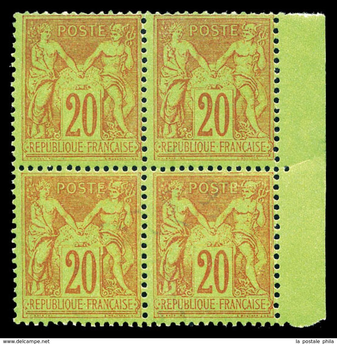 ** N°96, 20c Brique Sur Vert En Bloc De Quatre Bdf. SUP  Qualité: ** - 1876-1878 Sage (Type I)